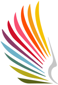 Logo of women's alliance, spread Bird wing in rainbow colours