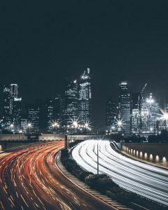 City landscape with roads and lights.